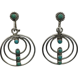 Dreamcatcher Turquise Native American Earrings - Sterling Silver