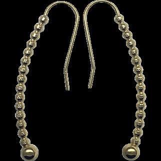 Vintage Bead Drop Dangle Earrings-14k Yellow Gold