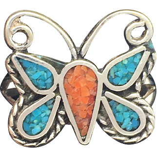 Native American Styled Turquoise and Coral Butterfly Ring-Sterling Sliver (925)