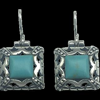 Turquoise Dangle Southwest Inspired Earrings - Sterling Silver (925)