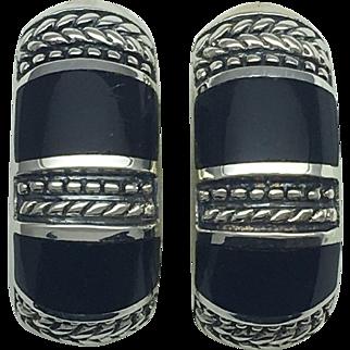 Southwest Design Onyx Inlay Hoop Earring- Sterling Silver