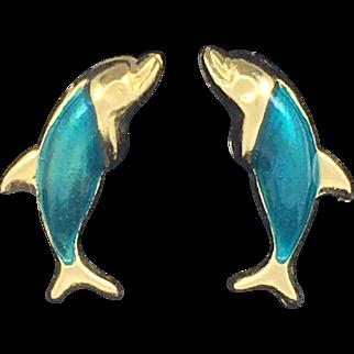 Vintage Green Enamel Dolphin Earrings - 14k Yellow Gold