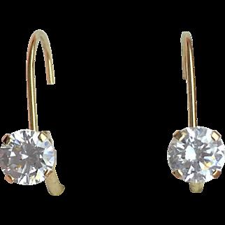 Lever back Cubic Zirconia Dangle Stud Earrings- 14K Yellow Gold