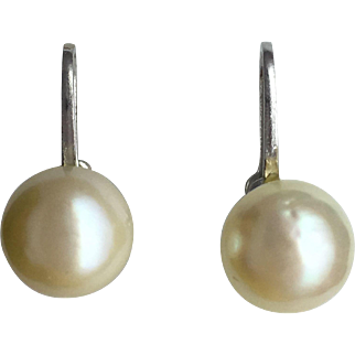 Cultured Pearl 8mm Screw Back Earrings- 14K White Gold