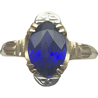 Vintage Handcrafted Created Sapphire Ring- 14k Yellow Gold