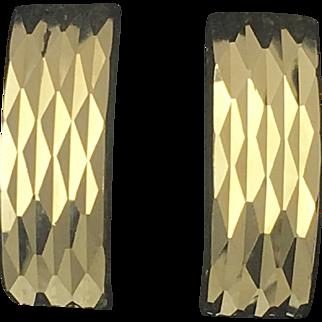 Diamond Cut Half Hoop Earrings- 14k Yellow Gold