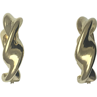 Twisted Puffy Hoop Earrings- 14k Yellow Gold