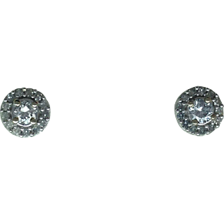 Diamond Halo Cluster Earrings - 10k White Gold