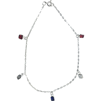 Patriotic Red, White and Blue Anklet In 925 Sterling Silver