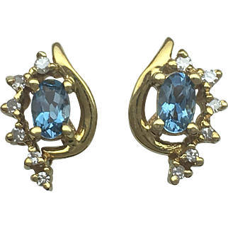 London Blue Topaz and Diamond earrings - 14K yellow gold