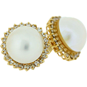 Gold Screw Back Natural Pearl Earrings