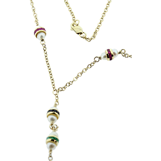Ruby, Sapphire, and Emerald Y Necklace 14K
