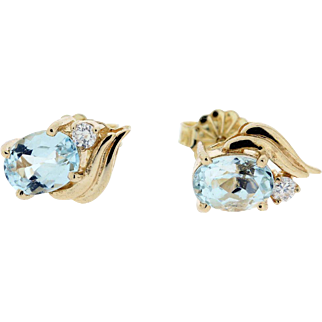 14K Gold Aquamarine and Diamond Stud Earrings