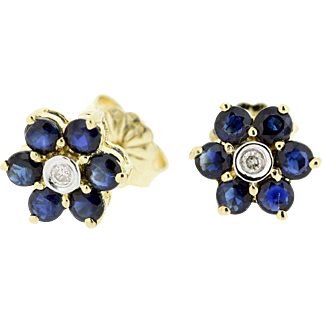 14K Gold Diamond and Sapphire Flower Stud Earrings