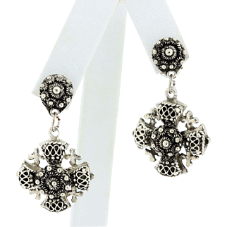 Jerusalem cross 980 Silver Clip Earrings