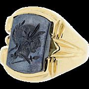 Hematite Signet Ring in 10K Gold carved Roman Soldier