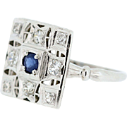 14K Gold Diamond and Sapphire Square Cocktail Ring