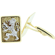 10K Gold Lion Rampant Cuff Links