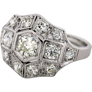 Pave Set Diamond Ring in Platinum