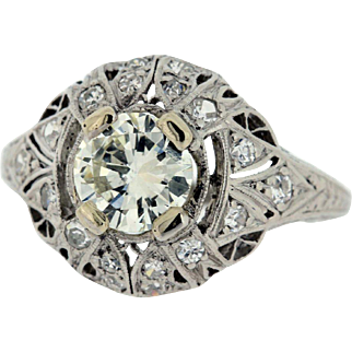 Platinum Diamond Ring with Milgrain and Wheat Leaf Engraved Accents