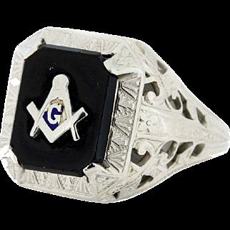 10K White Free Mason ring