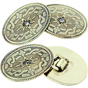 14K Oval Engraved Cufflinks with Diamond Centers