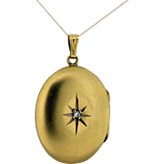 14K Oval Locket with Engraved Star with Diamond