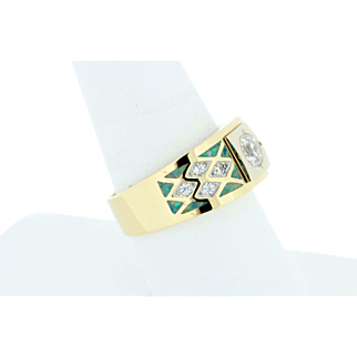 18K Gold CZ Signet Ring with Opal Inlay