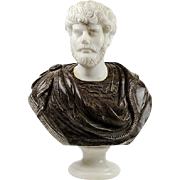 MARBLE AND STONE BUST OF EMPEROR LUCIUS VERUS