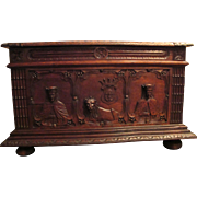 19th Century French Carved Oak Trunk with Lion, King & Queen