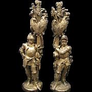 "Wonderful Pair of Ormolu Gilt Bronze Knights 27"" Tall"