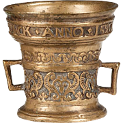 Early Bronze Dutch Mortar with date of 1590