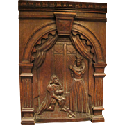Carved Oak Panel of a Queen with Kneeling Knight