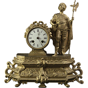Late 19th Century gilt metal Mantle Clock with Knight and Halberd
