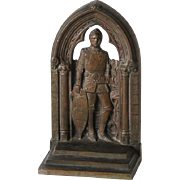 Bronze Bookend Knight in Armour with Shield