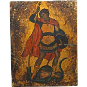 20th Century Greek Icon of St. George and the Dragon