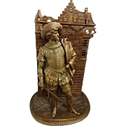 Large Fireside Stand - Cavalier with Sword in Cityscape