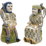 Lovely pair of Brussels Faience Figural Jugs 19th Century