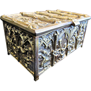 Gothic Revival 19th Century Cast Bronze Casket