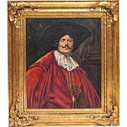 Large Oil on Canvas: Cavalier in Red, signed F. Giovanni dated 1931 in outstanding gilt frame