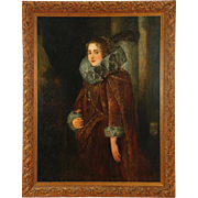 Large Oil on Canvas Portrait of Elizabethan Woman in Ruff Collar