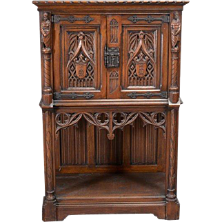 Gothic Revival Oak Knight's Cabinet late 19th Century