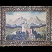 Signed Oil on Canvas of Neuschwanstein Castle, Bavaria