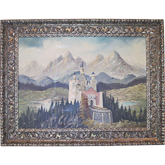 Signed Oil on Canvas of Neuschwanstein Castle, Bavaria