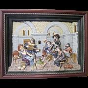 Large Antique German Pottery High Relief Glazed Wall Tile (Framed)
