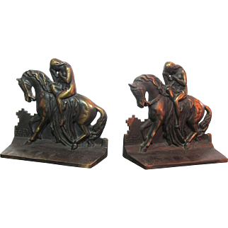Lady Godiva Cast Iron Bookends with Gilt Decoration