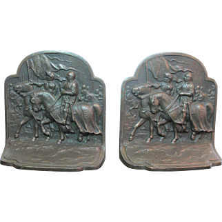 Knights on Horseback cast iron Bookends