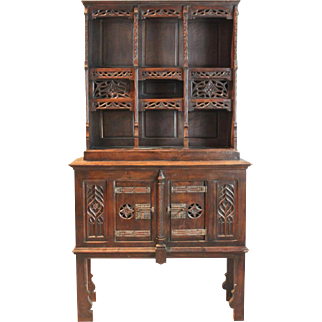 Large Gothic Revival Carved Walnut Display Cabinet on Stand