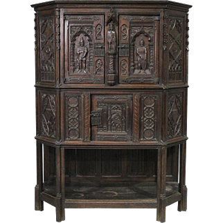 Gothic Revival Knight's Carved Oak Court Cupboard