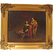 Large Oil on Canvas of King Charles I and Sir Anthony Van Dyck in his studio
